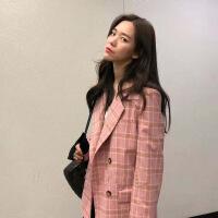 新女士外套2018秋季新款女装ins休闲格纹西装外套 粉色格纹