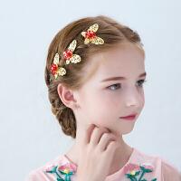 儿童蝴蝶头饰公主金色发饰女孩礼服配饰手工边夹发夹头花