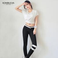 【领券立减30元】Kombucha瑜伽健身三件套2019新款女士网纱透气短T文胸长裤运动套装HXF33905T3S