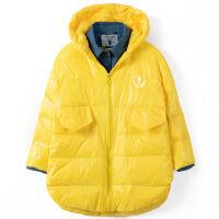 女士秋冬外套假两件连帽休闲时尚羽绒服 羽绒服女假两件 黄色