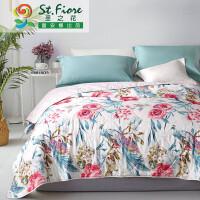 富安娜家纺 圣之花纯棉印花面料夏被空调被 儿童成人可用