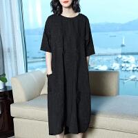 名媛连衣裙女夏2019新款宽松时尚气质长裙子大码女装连衣裙 黑色