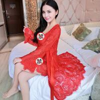 情趣内衣 诱惑性感睡衣女蕾丝吊带睡裙透明两件套 LZ1226大红色 160(M)