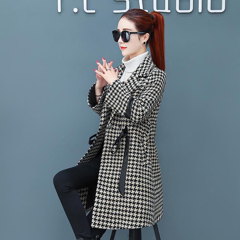 女装针织外套2019流行呢子大衣女中长款冬装收腰显瘦韩版新款女士翻领毛呢外套