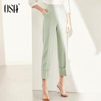 欧莎绿色西装裤女直筒宽松九分裤2021年春季新款休闲裤子显瘦百搭