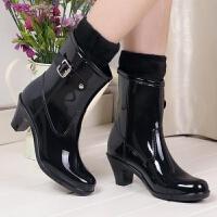 高跟雨鞋女时尚水鞋水滑雨靴春夏秋冬季可加绒保暖水靴胶