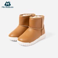 迷你巴拉巴拉童鞋男童女童雪地靴2019冬新款加绒保暖休闲鞋靴子
