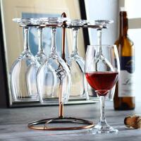 韩纳斯 2/4/6只玻璃葡萄酒杯 高脚杯红酒杯套装 家用醒酒器杯架 +杯架