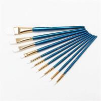 水彩画笔刷 水粉画笔刷 美术王国彩色画笔 儿童油画画笔 尼龙毛画笔 勾线笔刷6/10支套装