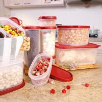 塑料收纳盒冰箱储物保鲜盒防潮椭圆形密封盒6件套 红色4083 6件套