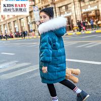 2018新款儿童棉服大毛领洋气女宝宝中长款韩版过膝外套