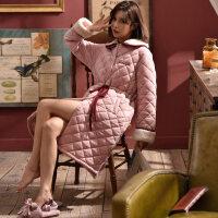 睡衣睡袍女冬加厚加长款三层夹棉加棉加绒修身女士冬季棉袄睡裙 FYJ7015-豆沙