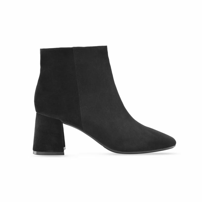 网易严选 羊猄粗跟女士短靴 黑色基本百搭,焦糖色时尚大气