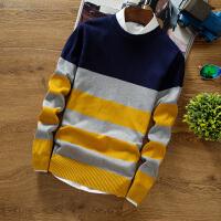 秋装新款男士毛衣青少年圆领套头拼接条纹针织衫潮学生线衫毛线衣 藏青色 119款