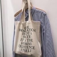 韩简约字母港风帆布袋女包chic购物袋单肩学生帆布包大包包sjj
