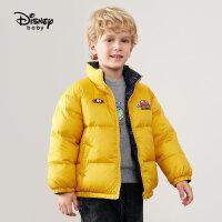 【2件3折价:257.7元】迪士尼童装男童羽绒服2021秋冬新款儿童时尚加厚面包服两面穿潮