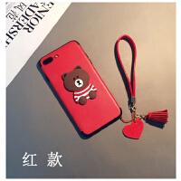卡通熊日韩iphone7plus手机壳苹果6splus情侣挂绳X女可爱6s硅胶8六七八潮情侣女可爱挂 / 红款