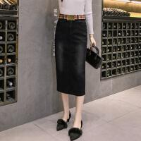 弹力牛仔半身裙女2018新款中长款夏季韩版包臀显瘦开叉高腰一步裙 黑色 送腰带
