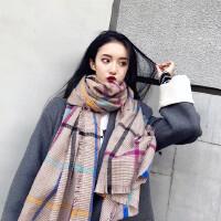 韩版2018新款仿羊绒格子围巾披肩两用女秋冬季学生时尚百搭围脖潮