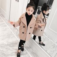 儿童毛呢外套2018新款洋气中长款加厚大衣女孩韩版呢子秋冬