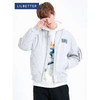 2.5折价:186;Lilbetter飞行员夹克棉衣男加厚保暖外衣短款休闲男士冬装外套LB