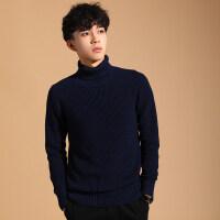 2018新款冬季男士加厚高领毛衣韩版修身潮流厚款纯色男针织衫男装