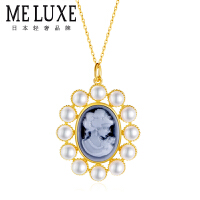 MELUXE 原创设计师款 卡梅奥 系列 立体微浮雕工艺 3-4MM珍珠吊坠/项链