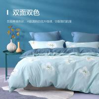 水星家纺 亲肤全棉四件套印花纯棉透气床单被罩居家床上用品 花开伴夏 汐若初见