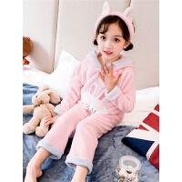 女童珊瑚绒睡衣秋冬季小童女儿童法兰绒家居服套装宝宝小女孩冬装