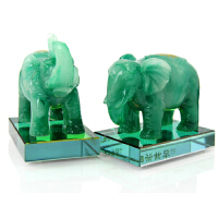 大象摆件一对 办公室办公桌风水招财白玉大象摆设家居装饰工艺品