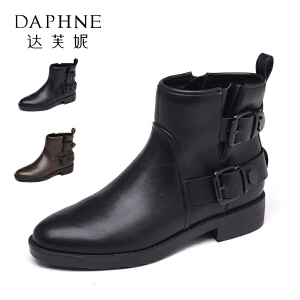 Daphne/达芙妮秋冬休闲粗跟女鞋个性圆头方扣短筒靴女