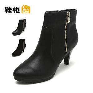 【双十一狂欢购 1件3折】Daphne/达芙妮旗下鞋柜 秋冬女靴欧美尖头短筒侧拉链高跟靴子