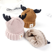 儿童毛线帽冬季绒款宝宝套头帽圣诞小鹿男孩女孩针织帽