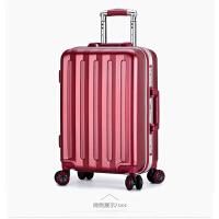 20180828194419175红色结婚行李箱拉杆箱万向轮女磨砂防刮铝框旅行箱学生密码登机箱 小米同款酒红色 .