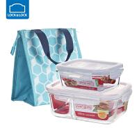 乐扣乐扣耐热玻璃保鲜盒分隔饭盒包分格便当盒三件套长1020ml【2分隔】+长380ml+饭盒包