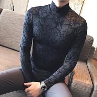 时尚修身秋季新款 英伦绅士韩版休闲打底衫半高领毛衣 深蓝
