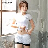 【满100减50/满200减100】Kombucha运动健身三件套2019新款女士网眼透气吸湿排汗短袖文胸短裤晨跑休闲