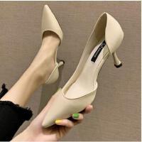 白色仙女高跟鞋百搭潮款新款尖头细跟性感浅口单鞋一脚蹬女凉鞋潮