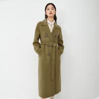 伊芙丽毛呢外套女2020冬季新款韩版双排扣系带长款加厚双面呢大衣