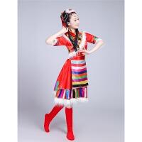 新款藏族舞蹈演出服装女水袖蒙古服装女儿童少数民族风表演服 大红色立领款短袖 S