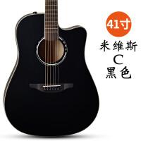 电箱拉维斯吉他米s民谣单板41寸40寸初学者学生男女乐器 41寸 拉维斯 米C 黑色