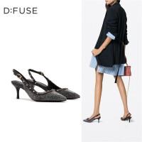 迪芙斯(D:FUSE)女鞋2019春专柜同款铆钉装饰尖头侧后空高跟单鞋凉鞋DF91114014