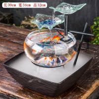 客厅鱼缸电视柜摆件家居装饰流水喷泉桌面加湿器创意结婚礼品*