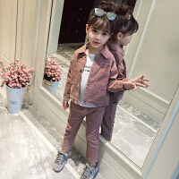 童装女童秋装套装2018新款韩版洋气时髦两件套小女孩灯芯绒外套潮