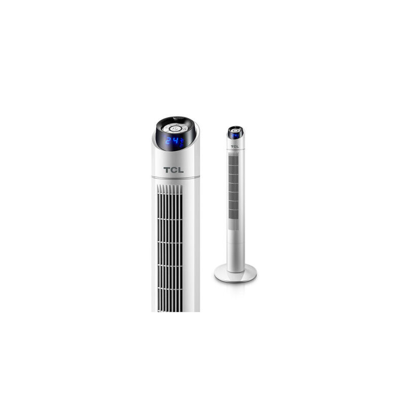 TCL 电风扇家用塔扇遥控定时落地扇摇头静音大厦台式立式无叶风扇 15小时定时 温度显示 静音柔风 母婴可用