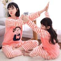儿童睡衣冬季厚款女童法兰绒家居服套装珊瑚绒中大童母女亲子装