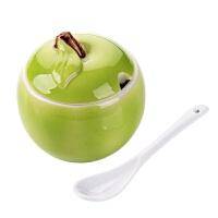 苹果陶瓷调味罐厨房带勺调料罐家用调味料盐罐调料盒调味盒