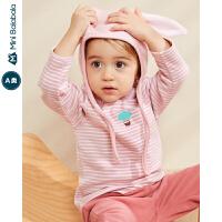 迷你巴拉巴拉婴儿T恤男女宝宝加绒长袖T恤2019冬装新款加厚上衣
