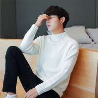冬季毛衣男高领韩版潮流半高领打底衫青年针织衫男士冬装加厚线衫