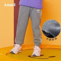 【3件3折:80.7】安奈儿童装女童加绒加厚休闲裤 舒适亲肤保暖